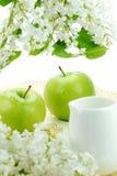 Flores brancas e maçãs foto de stock