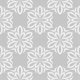 Flores brancas no fundo cinzento Teste padrão sem emenda decorativo Fotos de Stock
