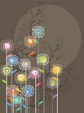 Flores brillantes caprichosas y remolinos stock de ilustración