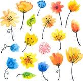 Flores brillantes de la acuarela en estilo ingenuo Imagen de archivo libre de regalías
