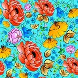 Flores brillantes en un fondo azul Modelo inconsútil c Fotografía de archivo