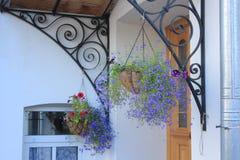 Flores cerca de la entrada Imágenes de archivo libres de regalías