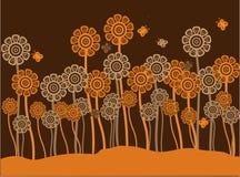 Flores cobardes y mariposas retras marrones y anaranjadas Imagen de archivo libre de regalías