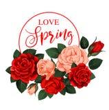 Flores color de rosa del vector para la cita del día de fiesta de la primavera Fotos de archivo