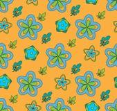 Flores coloreadas multi, en un fondo anaranjado stock de ilustración