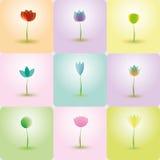 Flores coloridas, ícones abstratos para o fundo Foto de Stock Royalty Free
