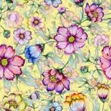 Flores coloridas bonitas do cosmos com as folhas no fundo amarelo Teste padrão floral sem emenda Pintura da aguarela ilustração stock