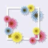 Flores coloridas da mola do vetor com quadro quadrado Foto de Stock Royalty Free
