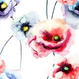 Flores coloridas de la amapola Imagen de archivo libre de regalías