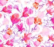 Flores coloridas de las acuarelas Foto de archivo