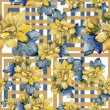 Flores coloridas del ramo de la acuarela Modelo inconsútil del fondo fotografía de archivo