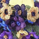 Flores coloridas del trabajo de la aguja Fotografía de archivo libre de regalías