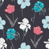 Flores coloridas del vintage del vector en el carbón de leña Grey Pastel Fabric Seamless Pattern con los tulipanes, narcisos en b Foto de archivo libre de regalías