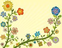 Flores coloridas em videiras ilustração do vetor