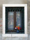 Flores coloridas en la ventana, Venecia Imagen de archivo