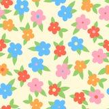 Flores coloridas simples com folhas, teste padrão sem emenda, vetor ilustração royalty free