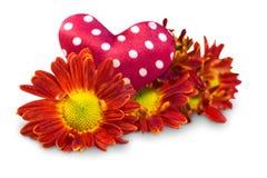Flores com corações Imagens de Stock Royalty Free