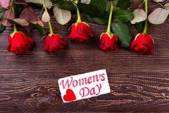 Flores com o cartão do dia do ` s das mulheres Foto de Stock Royalty Free