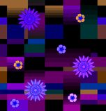 Flores com quadrados Imagens de Stock Royalty Free