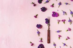 Flores comestibles púrpuras Foto de archivo libre de regalías