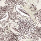 Flores con el ejemplo del pájaro Imagen de archivo