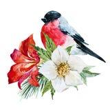 Flores con el pájaro ilustración del vector