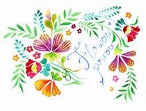 Flores con la muestra fotos de archivo libres de regalías