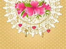 Flores con los ornamentos del cordón ilustración del vector