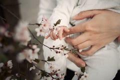 Flores conmovedoras del bebé el ` s de los niños da el primer Imágenes de archivo libres de regalías