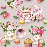 Flores, copo de chá, bolos, bolinhos de amêndoa, potenciômetro watercolor Fundo sem emenda Foto de Stock