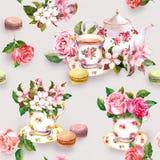 Flores, copo de chá, bolos, bolinhos de amêndoa, potenciômetro watercolor Fundo sem emenda Imagens de Stock