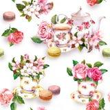 Flores, copo de chá, bolos, bolinhos de amêndoa, potenciômetro watercolor Fundo sem emenda Fotos de Stock Royalty Free