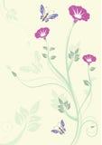 Flores cor-de-rosa com borboletas Imagens de Stock Royalty Free