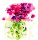 Flores cor-de-rosa da aquarela em um fundo branco Fotografia de Stock Royalty Free