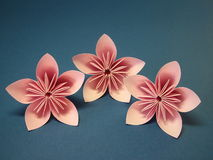 Flores cor-de-rosa do origami Imagens de Stock Royalty Free
