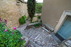 Flores cor-de-rosa e as escadas entre as casas Imagem de Stock