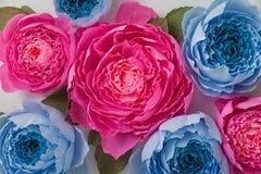 Flores cor-de-rosa e azuis de papel de papel ondulado Fotografia de Stock