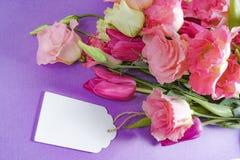 Flores cor-de-rosa e brancas no fundo roxo, disposição com espaço do texto livre, conceito do cartão, etiqueta de madeira branca Foto de Stock