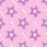 Flores cor-de-rosa e círculos brancos das formas em um fundo cor-de-rosa ilustração stock