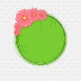 Flores cor-de-rosa em torno do círculo verde ilustração royalty free