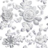 Flores cor-de-rosa selvagens de papel do ofício 3D, bagas do rosehip e teste padrão sem emenda da borboleta Imagem do estoque da  ilustração royalty free