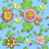 Flores cor-de-rosa selvagens de papel do ofício 3D, bagas do rosehip e teste padrão sem emenda da borboleta Imagem do estoque da  Fotografia de Stock Royalty Free