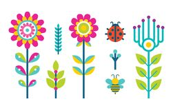 Flores criativas Bud Set de florescência da mola ou do verão ilustração stock