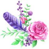 Flores da aguarela Composição floral, lugar para o texto, quadro Projete o elemento para o cartão, capa do livro, salvar a data Fotos de Stock Royalty Free