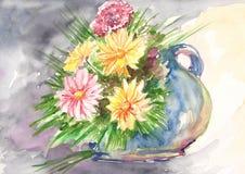 Flores da aguarela Crisântemos amarelos e cor-de-rosa no vaso ilustração royalty free