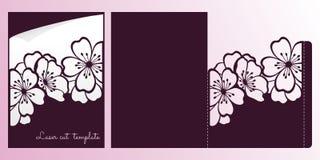 Flores da cereja ou do ramo de sakura Molde de corte do laser ilustração royalty free