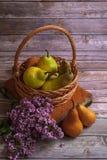 Flores da cesta e do lilás das peras fotos de stock