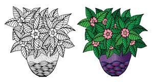 Flores da garatuja e um vaso Teste padrão floral, desenho da mão ilustração royalty free