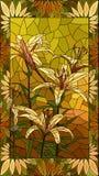 Flores da ilustração do vetor de lírios amarelos Fotografia de Stock