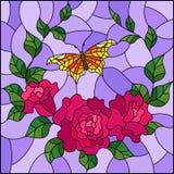 Flores da ilustração do vitral e folhas da rosa do rosa, e borboleta alaranjada, imagem quadrada Foto de Stock